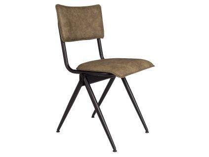 Zelená Jídelní židle DUTCHBONE WILLOW, černá lakovaná ocelová podnož