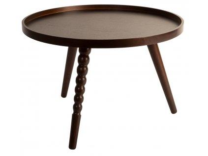 Hnědý konferenční stolek DUTCHBONE ARABICA O 58,5 cm, kaučukovníková podnož, přírodní lakování, překližkový rám