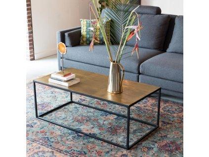 Hnědý konferenční stolek DUTCHBONE LEE, mosazná deska, kovová podnož