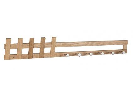 Dubový nástěnný věšák Menera, lakované, masivní dubové dřevo