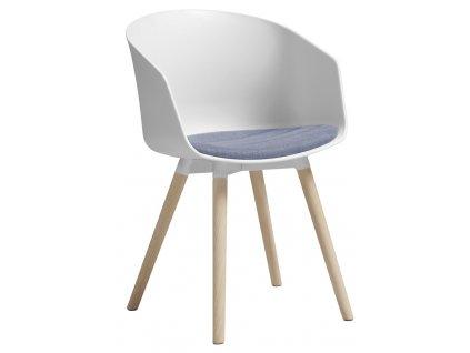 Bílo/fialová jídelní židle Durana, polypropylen, látka, masivní dubové dřevo,přírodní barva