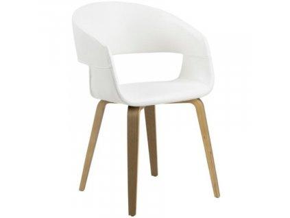 Bílá koženková jídelní židle Damaro s topolovou podnoží