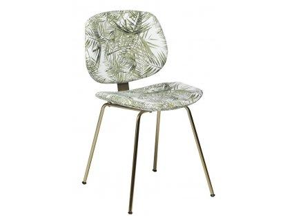 Sametová jídelní židle DanForm Prime s motivem palmových listů s kovovou podnoží