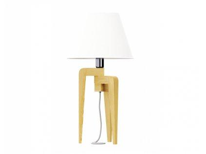 Bílá stolní lampa LF 26 s přírodní podnoží 40 cm