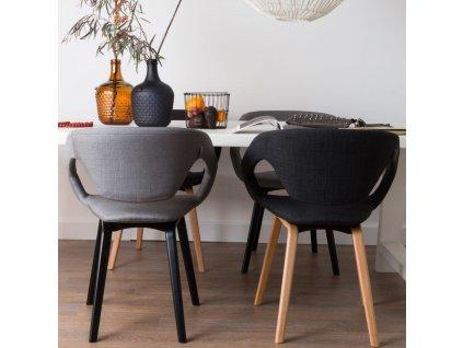 Šedá látková jídelní židle ZUIVER FLEXBACK s černou podnoží