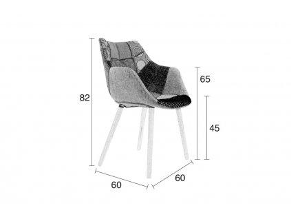 Jídelní židle patchwork Zuiver Twelve buková podnož