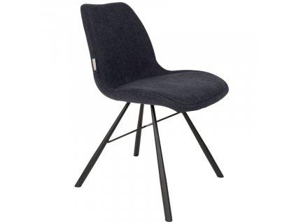 Tmavě modrá čalouněná jídelní židle ZUIVER BRENT s černě lakovou kuželovitou podnoží