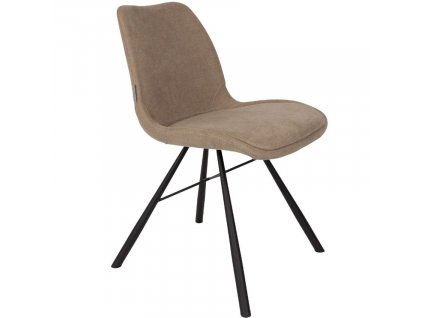 Béžová čalouněná jídelní židle ZUIVER BRENT s černě lakovou kuželovitou podnoží