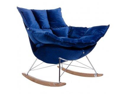 Modré sametové houpací křeslo Wingo