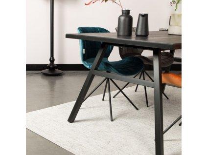 Sametová petrolejová jídelní židle Zuiver OMG černá lakovaná podnož