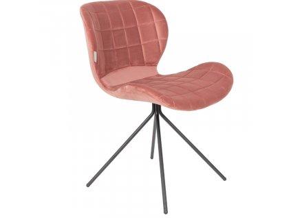 Sametová růžová jídelní židle Zuiver OMG černá lakovaná podnož