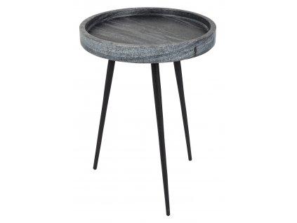 Odkládací stolek ZUIVER KARRARA šedá mramorová deska hliníková trojnožka