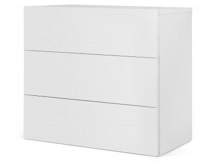 Designová komoda Carmo 90 cm, 3 zásuvky, matná bílá