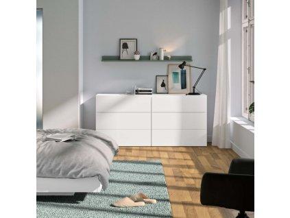 Matně bílá dřevěná komoda Carmo VI. 180 x 53 cm