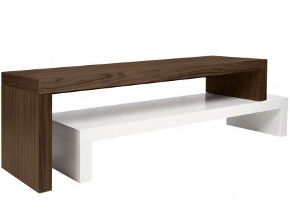Matně bílý ořechový TV stolek Falesia 235 x 38 cm