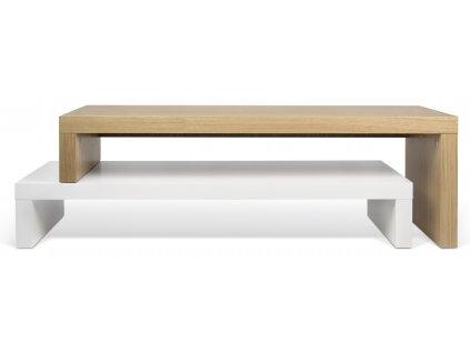 Mdtně bílý dubový TV stolek Falesia 235 x 38 cm