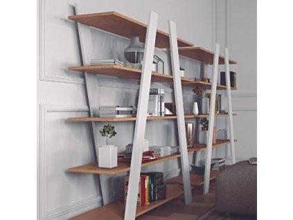 Bílá dubová designová knihovna Vento