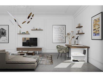 Bílý ořechový kancelářský stůl Antonio II. 160 x 90 cm