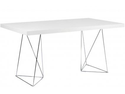 Bílý dřevěný stůl Antonio 180 x 90 cm s chromovou podnoží
