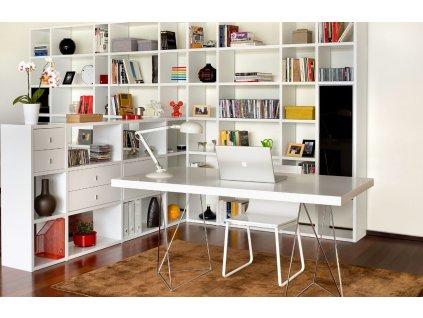 Kancelářský stůl Antonio 180 cm, chrom/bílá