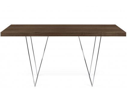 Ořechový stůl Antonio 180 x 90 cm s chromovou podnoží