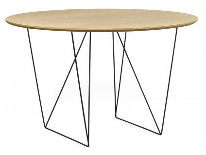 Jídelní stůl Matos 120 cm, černá podnož, dub