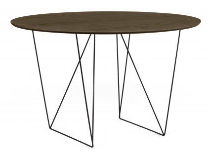Jídelní stůl Matos 120 cm, černá podnož, ořech