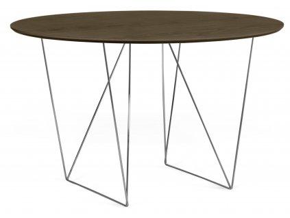 Jídelní stůl Matos 120 cm, chromovaná podnož, ořech