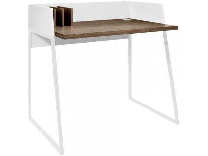 Bílý ořechový kancelářský stůl Glaucia 90 x 60 cm