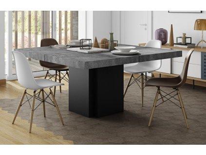 Betonově šedý dřevěný jídelní stůl Aveiro 130 x 130 cm
