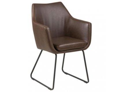 Židle Marte s područkami, ekokůže/kov, tmavě hnědá