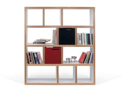 Designová knihovna Castelo 4 150 cm, překližka, matná bílá