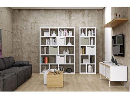 Matně bílá dřevěná knihovna Castelo 5 150 x 34 cm