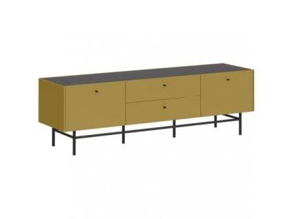 TV stolek Germania 2449 MONTEO, antracit, olivově žlutá 178x48 cm