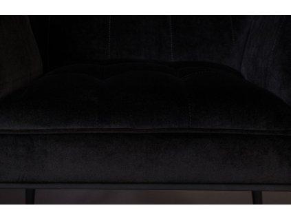 Černá sametová jídelní židle DUTCHBONE KATE, černá lakovaná kovová podnož