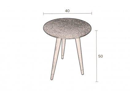 Kulatý odkládací stolek DUTCHBONE BAST s měděnou deskou