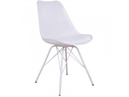 Bílá plastová jídelní židle Nordic Living Marcus s bílou podnoží