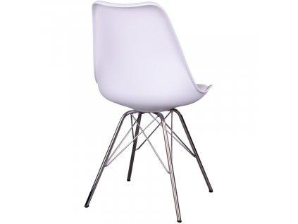 Bílá plastová jídelní židle Nordic Living Marcus s chromovanou podnoží