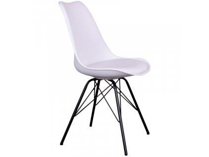 Bílá plastová jídelní židle Marcus s černou podnoží