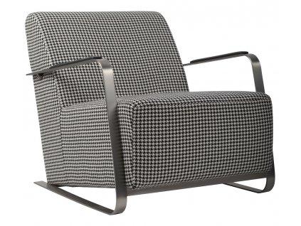 Čalouněné retro křeslo Zuiver Adwin vzor kohoutí stopy ocelový rám, šedá barva