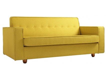 Žlutá čalouněná rozkládací pohovka Tracy 210 cm s dřevěnou podnoží
