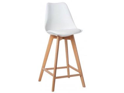 Bílá plastová židle Eyva s dřevěnou podnoží s čalouněným sedákem