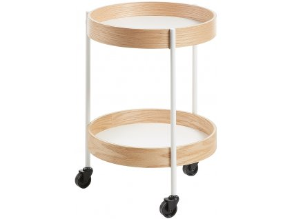 Bílý odkládací stolek ALBAN 40 cm