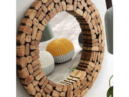 Dřevěné kulaté zrcadlo LaForma Ellipse 80 cm