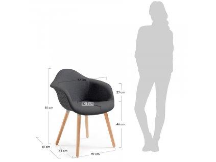 Tmavě šedá čalouněná židle LaForma Kenna