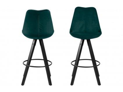 Lahvově zelená sametová barová židle Damian