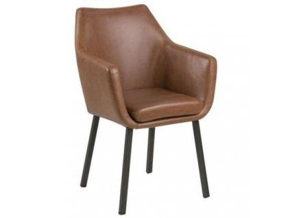 Světle hnědá čalouněná židle Marte s područkami