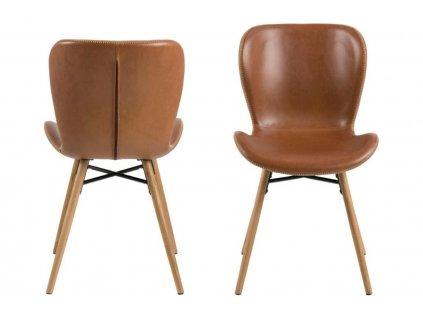 Hnědá jídelní židle Matylda, ekokůže, masivní dubové dřevo ošetřené olejem, černě lakovaný kov