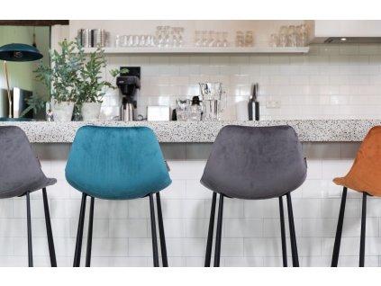 Petrolejová sametová barová židle DUTCHBONE FRANKY 65 cm