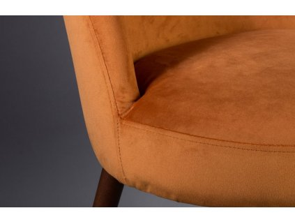 Oranžová samtetová židle DUTCHBONE BARBARA, skandinávksý design, čalounění, bukové dřevo